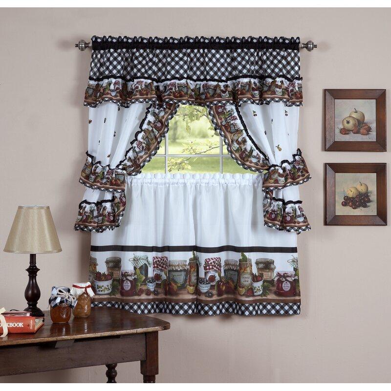 5 Fresh Ideas For Kitchen Window Treatments: August Grove Guimauve Mason Jar Cottage Kitchen Window