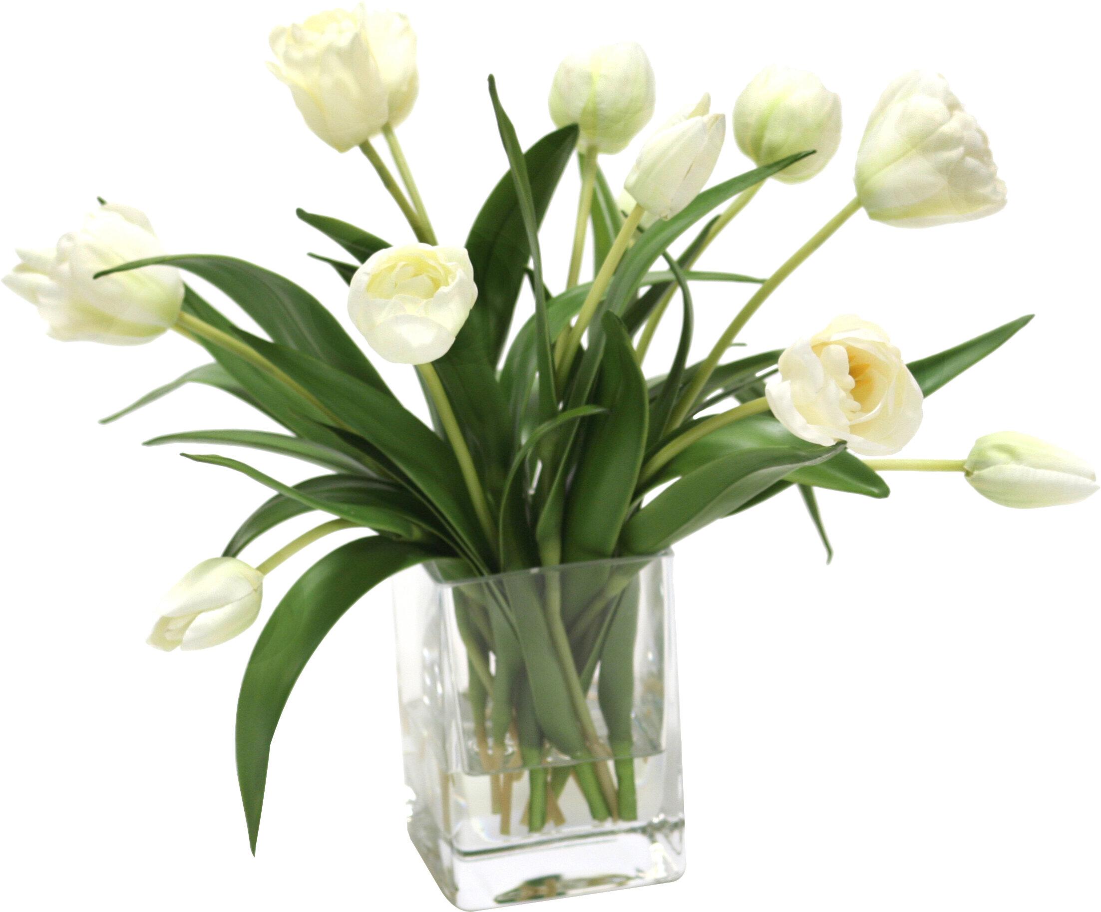 Distinctive Designs Waterlook Elegant Tulips Floral Arrangements in Glass Vase & Reviews | Wayfair