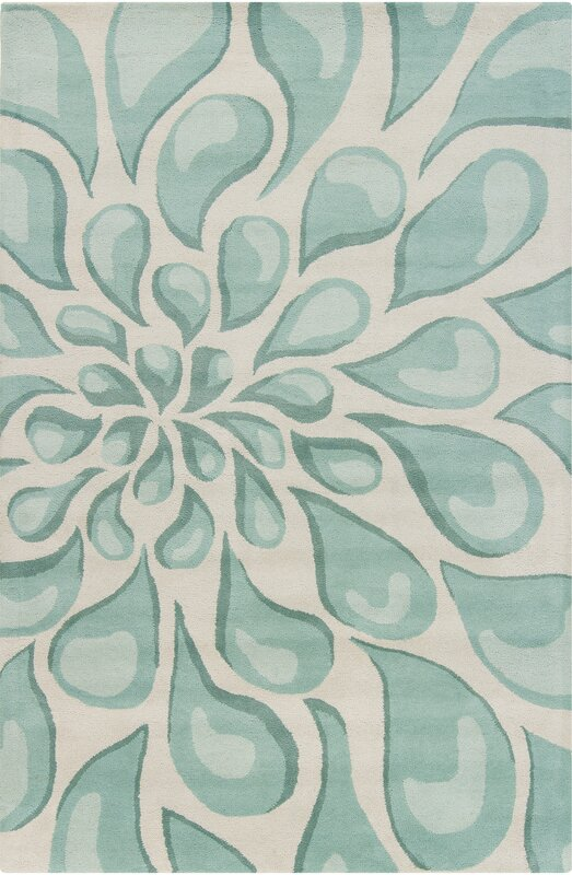 default_name - Chandra Stella Patterned Contemporary Wool Beige/Aqua Area Rug