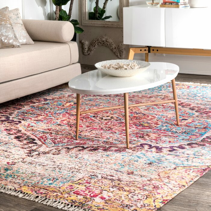 Briceno Hand Tufted Pink Sky Blue Area Rug