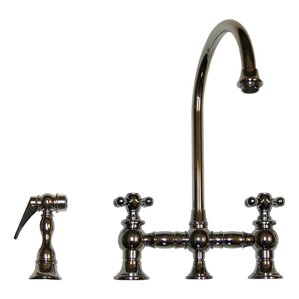 Whitehaus Collection Vintage III Two Handle Widespread Kitchen Faucet with Gooseneck Swivel Spout, Cross Handles and Side Spray