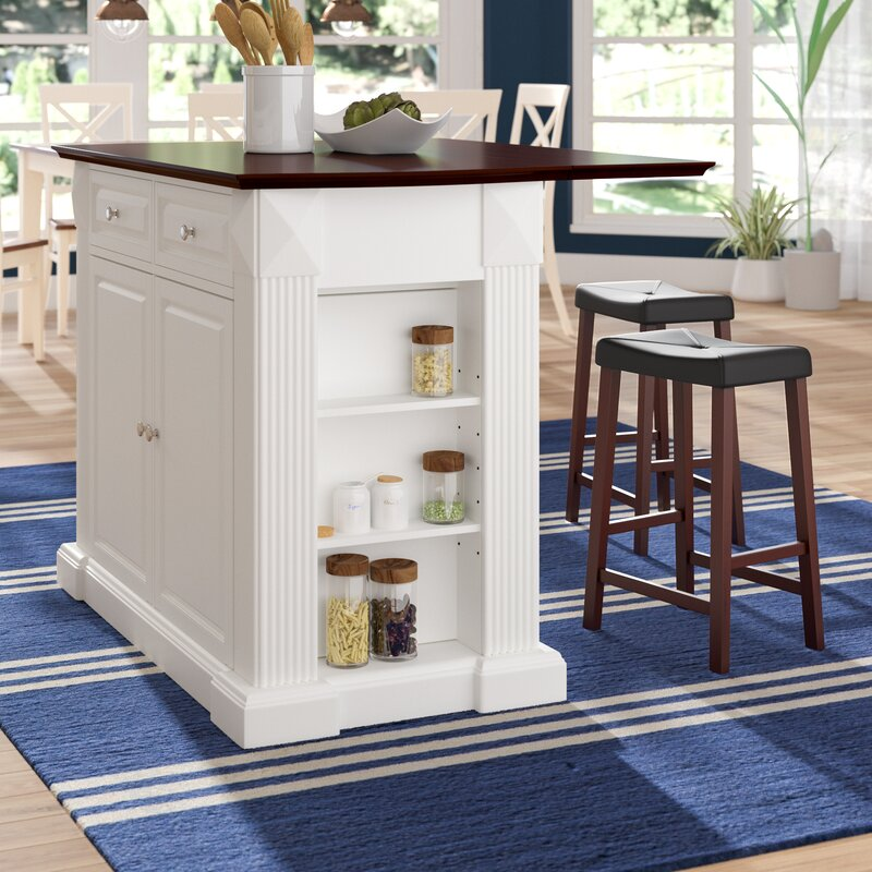 byron kitchen island with cherry top and saddle stools - Kitchen Island With Stools