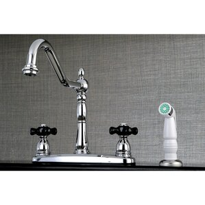 Kingston Brass Duchess Double Handle Widespread Deck Mounted Kitchen Faucet with Side Spray
