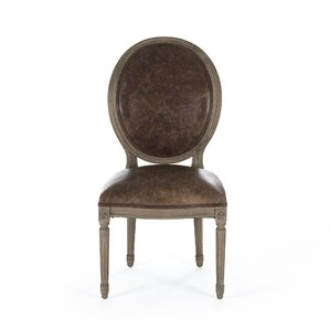 Medallion Genuine Leather Upholstered Dining Chair by Zentique Inc.