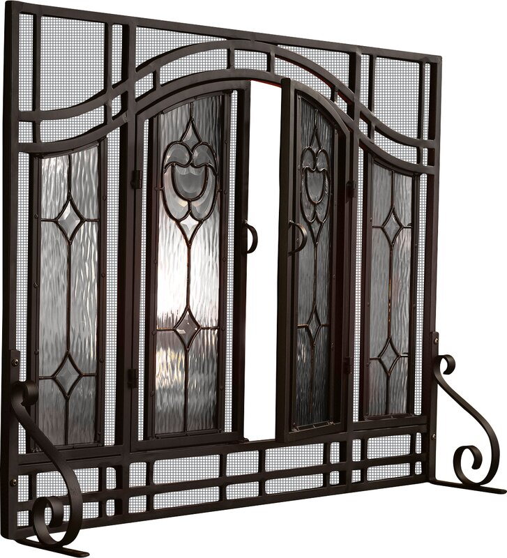 Plow hearth single panel glass fireplace screen reviews wayfair single panel glass fireplace screen teraionfo