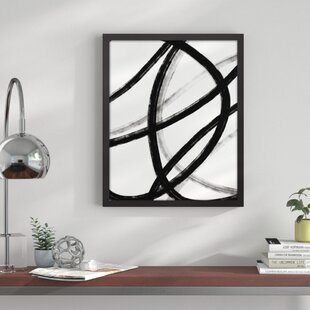 fabe5bfd446  Loops Black and White Abstract  Framed Graphic Art Print on Canvas