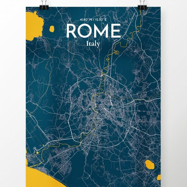 OurPoster.com \'Rome City Map\' Graphic Art Print Poster in Amuse ...