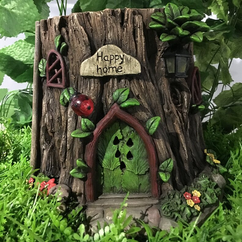 Ordinaire Fairy Garden Tree Trunk House With Solar LED Lights Statue