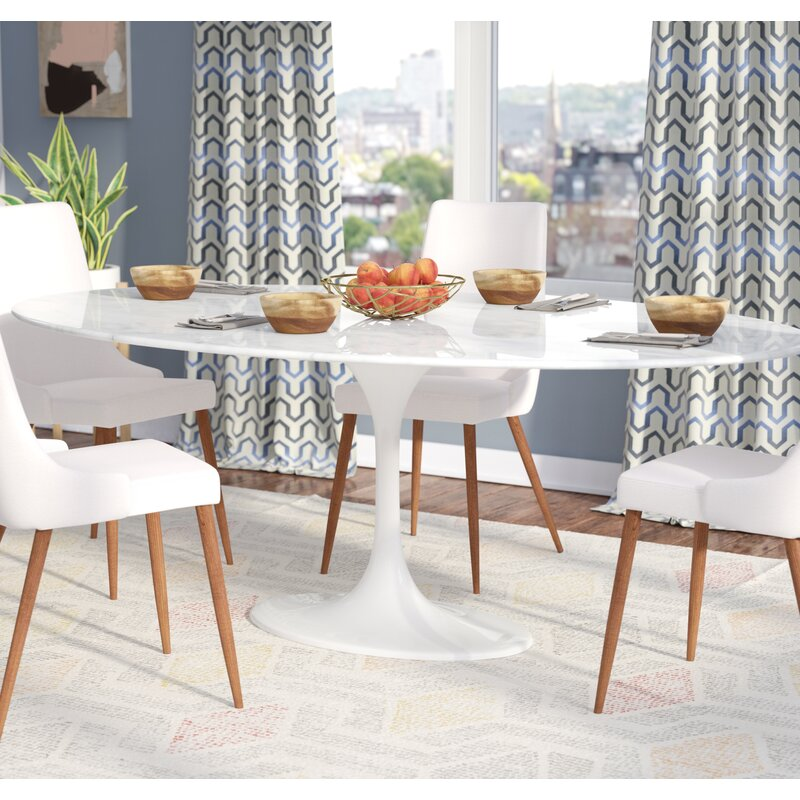Beau Larkson White Oval Marble Dining Table