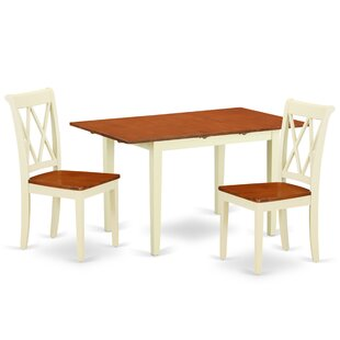 Krish 3 Piece Extendable Solid Wood Breakfast Nook Dining Set