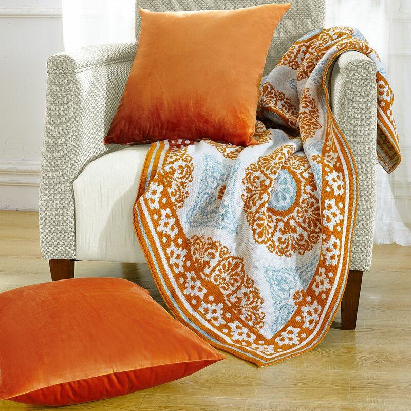 Delia Knitted Ez Matching Throw Blanket And Pillow Sham Set