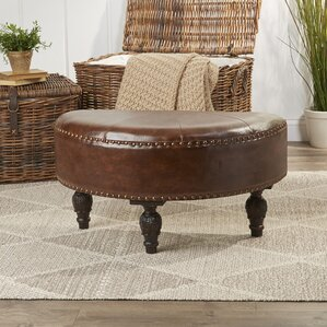 Stone Castle Faux Leather Half-Moon Ottoman by Astoria Grand