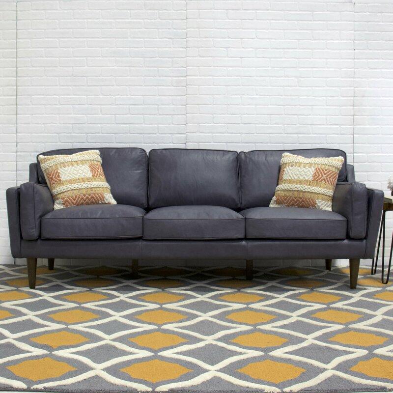 Kaufman Mid Century Modern Leather Sofa Reviews Joss Main