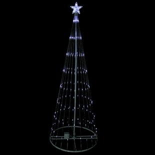 6 show cone christmas tree and yard art decoration lighted display with 150 mini led