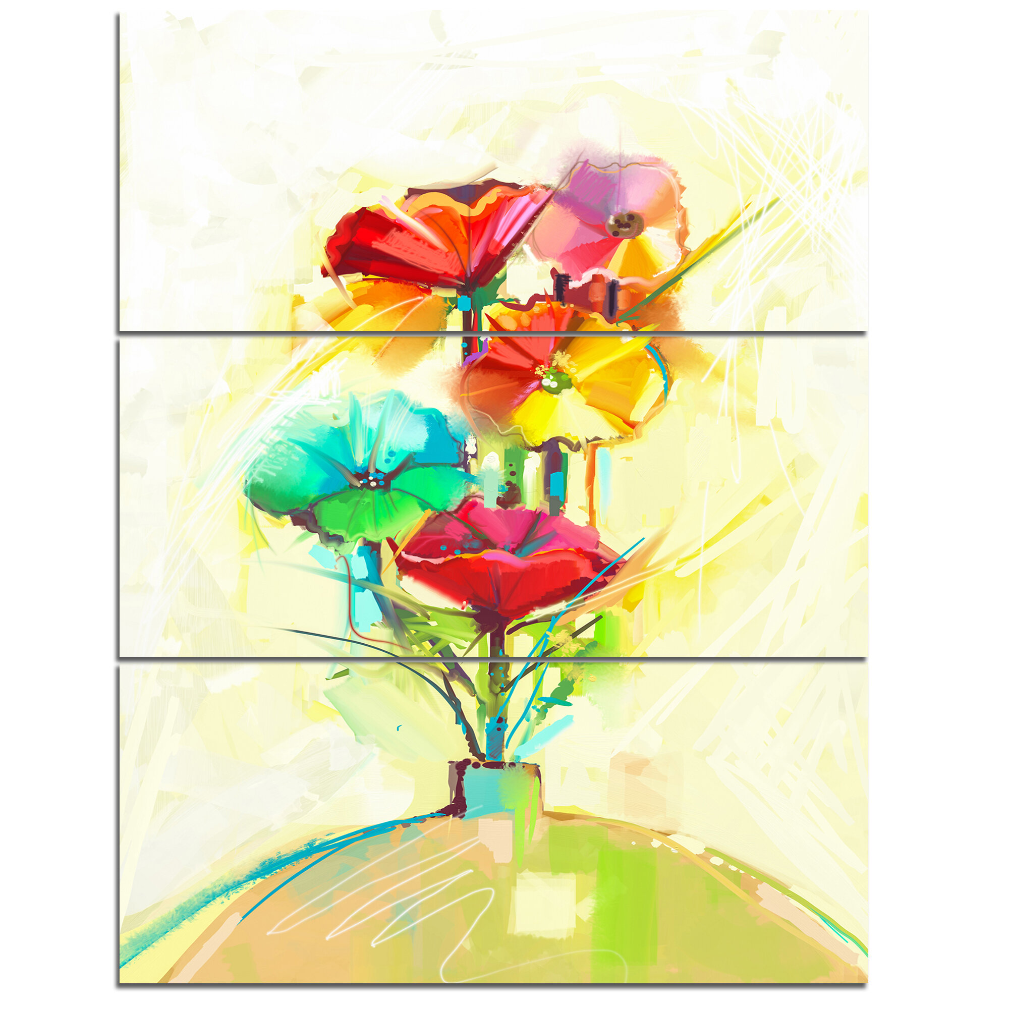 DesignArt \'Spring Flowers Bouquet in a Vase\' 3 Piece Wall Art on ...