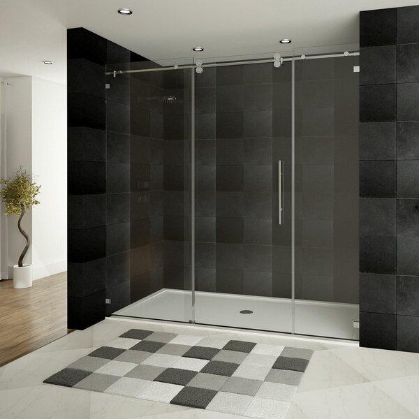 lesscare ultrad x single sliding shower door with double front panel u0026 reviews wayfair