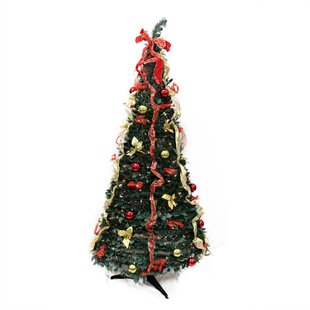 6 Decorated Red And Gold Artificial Christmas Tree With Clear Light