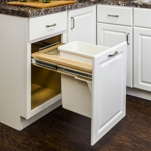Solid Wood Open Pull Out Under Counter Trash Can
