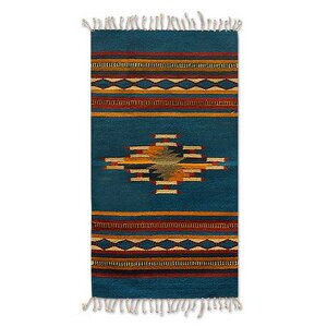 Zapotec Hand-Loomed Blue / Yellow Area Rug