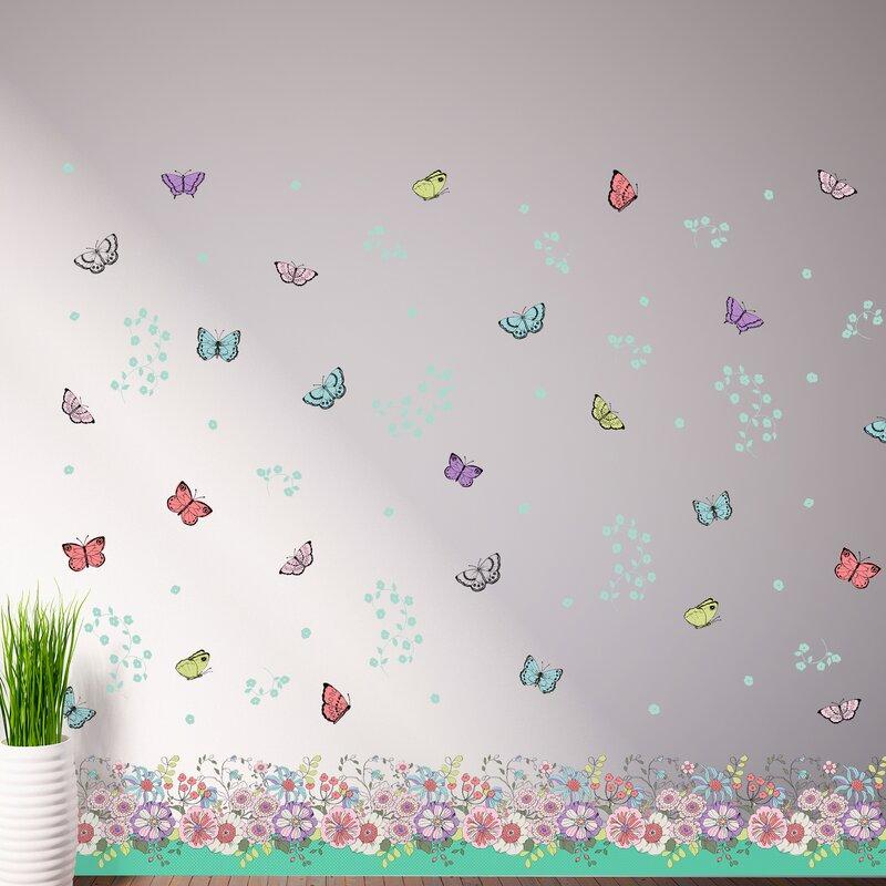 Wandtattoo Blumen, Schmetterlinge