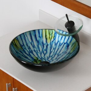 Double Layered Glass Bowl Circular Vessel Bathroom Sink