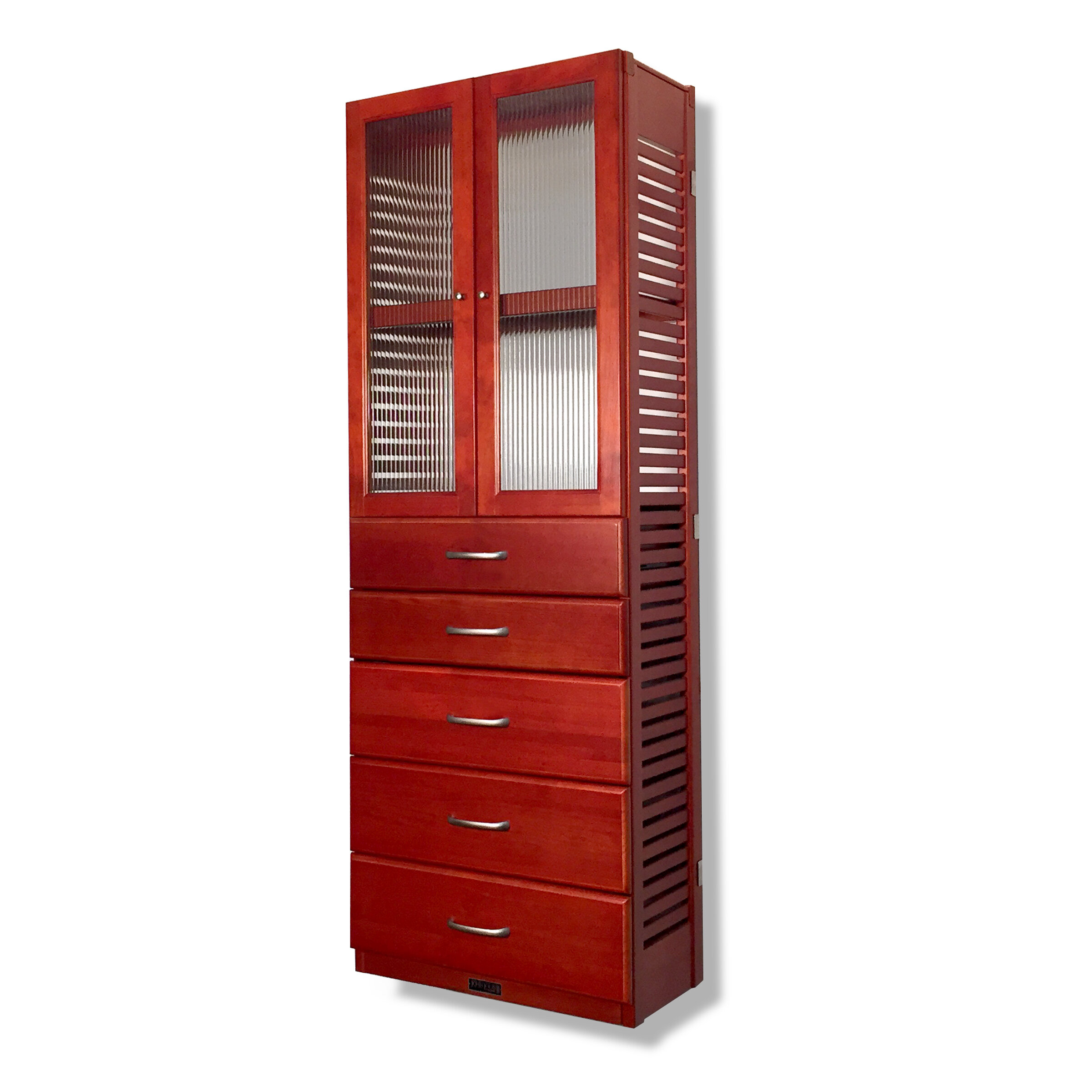 John Louis Home 12 W Deep Solid Wood Premier 5 Drawer Doors Storage Tower Wayfair