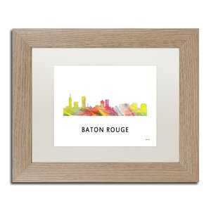 Trademark Art Baton Rouge Louisiana Skyline Wb 1 Framed
