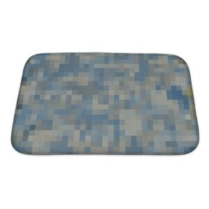 Primo Abstract Colorful Square Mosaic Oil Painted Bath Rug