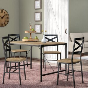 Samantha Iron and Wood 5 Piece Dining Set by Laurel Foundry Modern Farmhouse