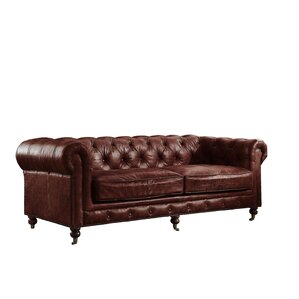 Kasha Top Grain Leather Chesterfield Sofa by Williston Forge