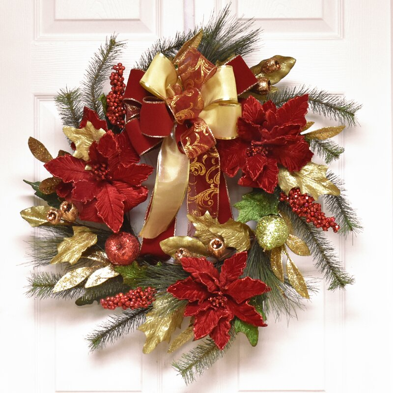 glistening 24 poinsettia christmas wreath