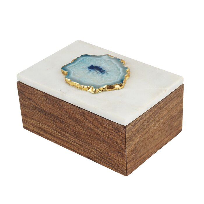 faeff19a4 Marble and Teak Jewellery Box with Agate - Handcrafted Jewellery Organizer  – Wooden Jewellery Box for Necklaces, Rings, Pendants, Trinkets by  Artisanal ...