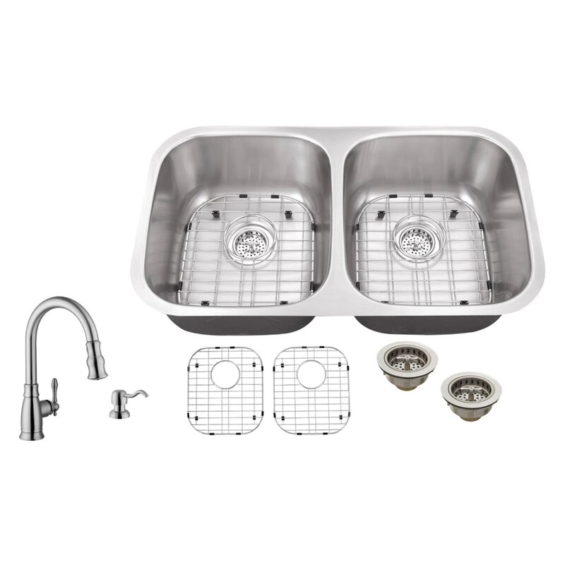 18 Gauge Stainless Steel 29 13 L X 5 W Double Basin Undermount Kitchen Sink