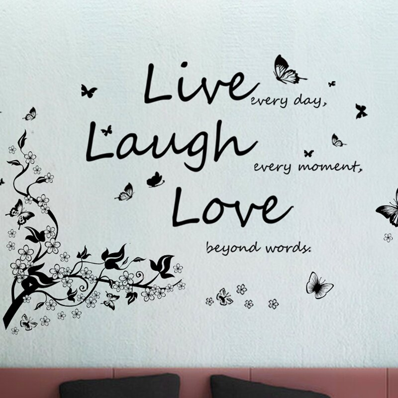 Butterfly Vine And Live Laugh Love Wall Decal