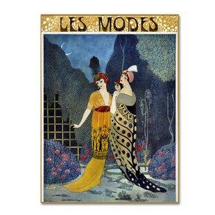 Art Deco Fashion Las Graphic Print On Wred Canvas