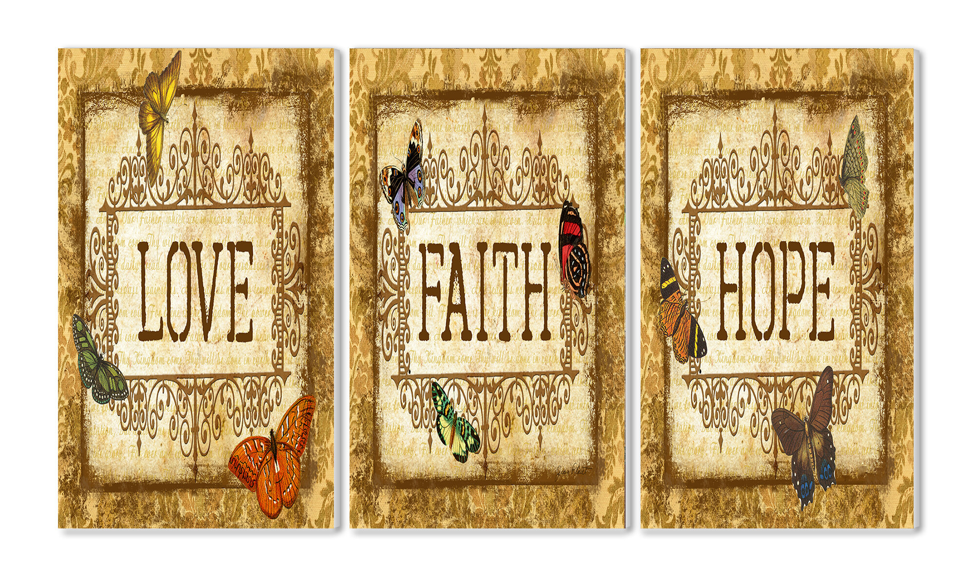 Stupell Industries Love, Faith, Hope Triptych 3 Piece Textual Art ...