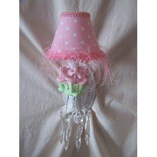 Silly bear baby pink flower 1 light candle wall light wayfair mightylinksfo