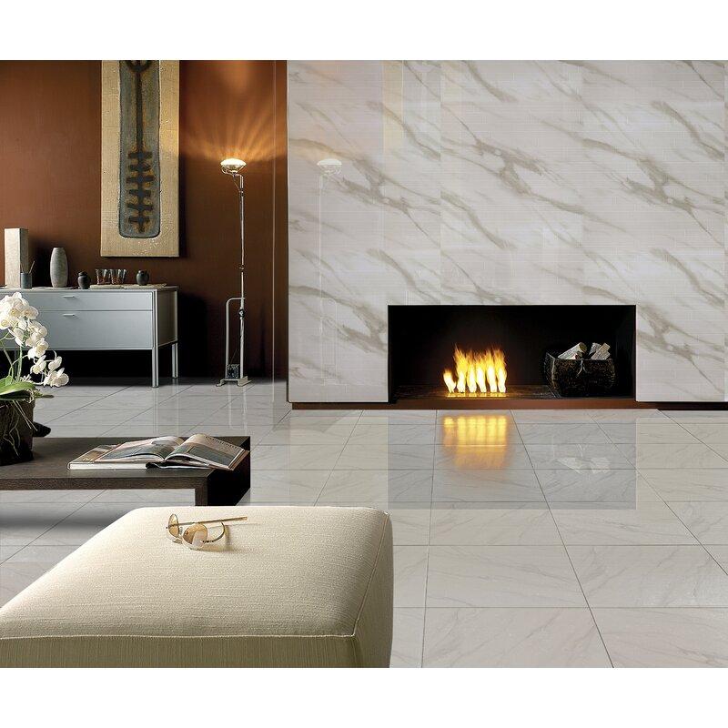 Multile White Calacatta Full Polished Glazed Porcelain Field Tile 24