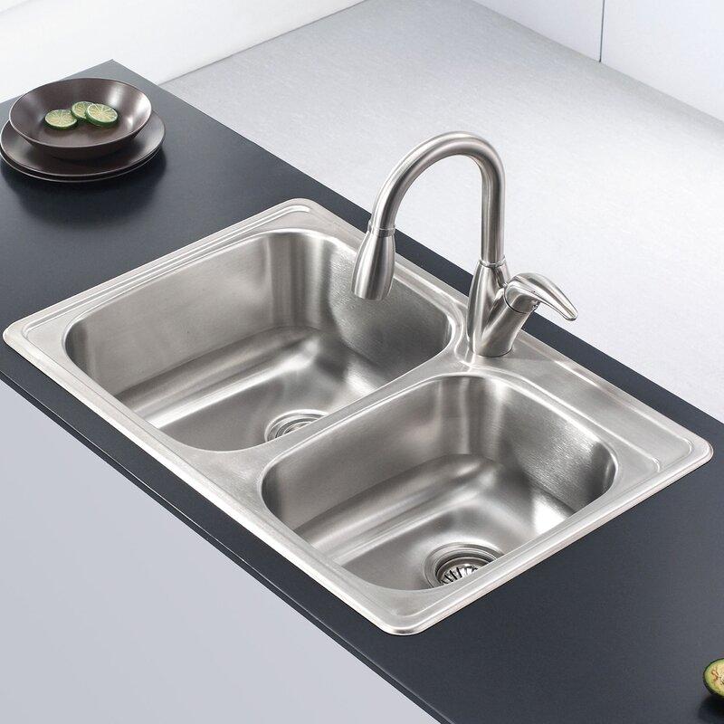 """Drop In Stainless Steel Kitchen Sinks kraus stainless steel 33"""" x 22"""" double basin drop-in kitchen sink"""