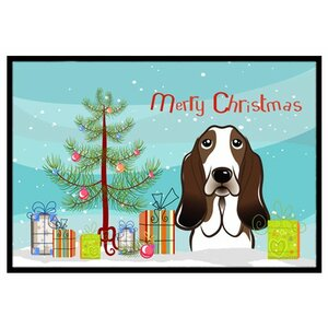 Christmas Tree and Basset Hound Doormat