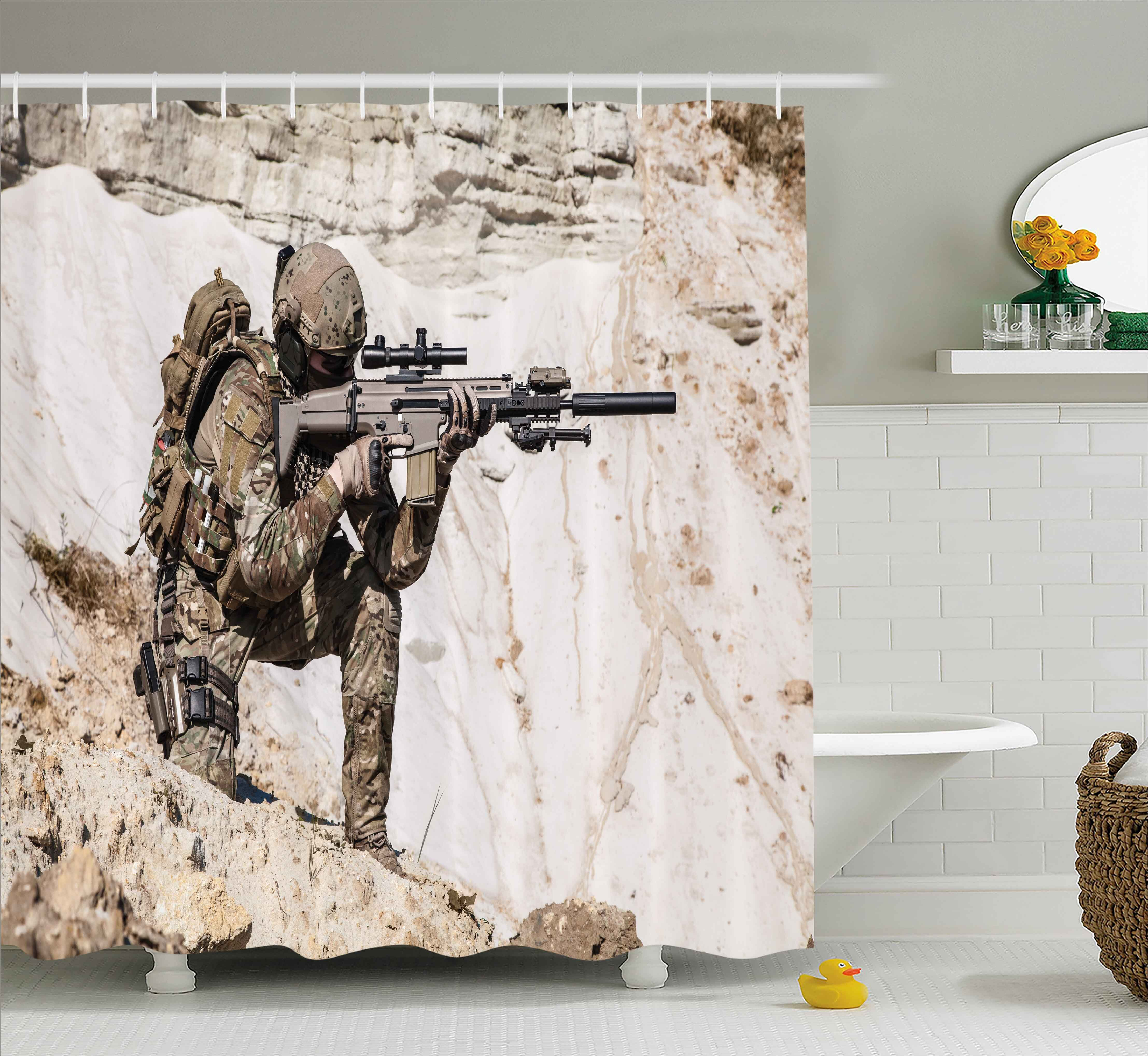 Ambesonne Army United States Ranger On The Mountain Targeting With Gun Camouflage War Picture Shower Curtain