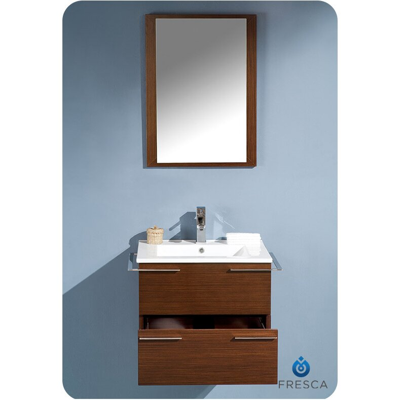 Fresca cielo 24 single modern bathroom vanity set with mirror reviews wayfair - Kona modern bathroom vanity set ...