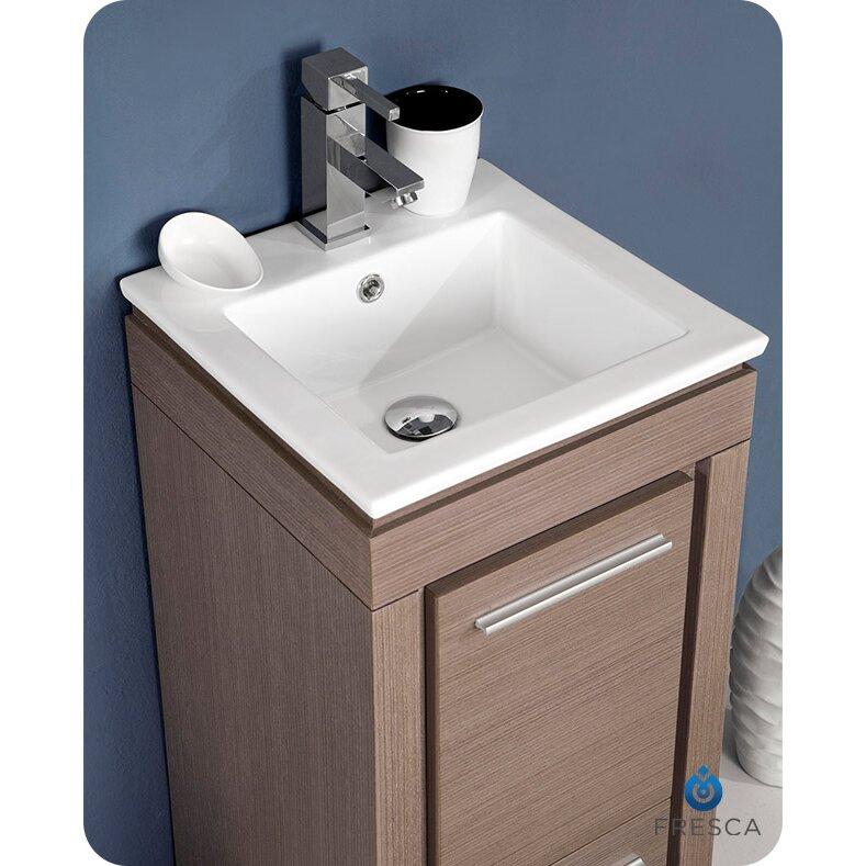 "Fresca Allier 16"" Single Small Modern Bathroom Vanity Set With Mirror & Reviews"