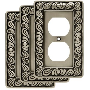 paisley 1 gang duplex wall plate set of 3