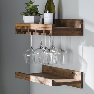 Bernon Rustic Wall Mounted Wine Glass Rack (Set Of 2)