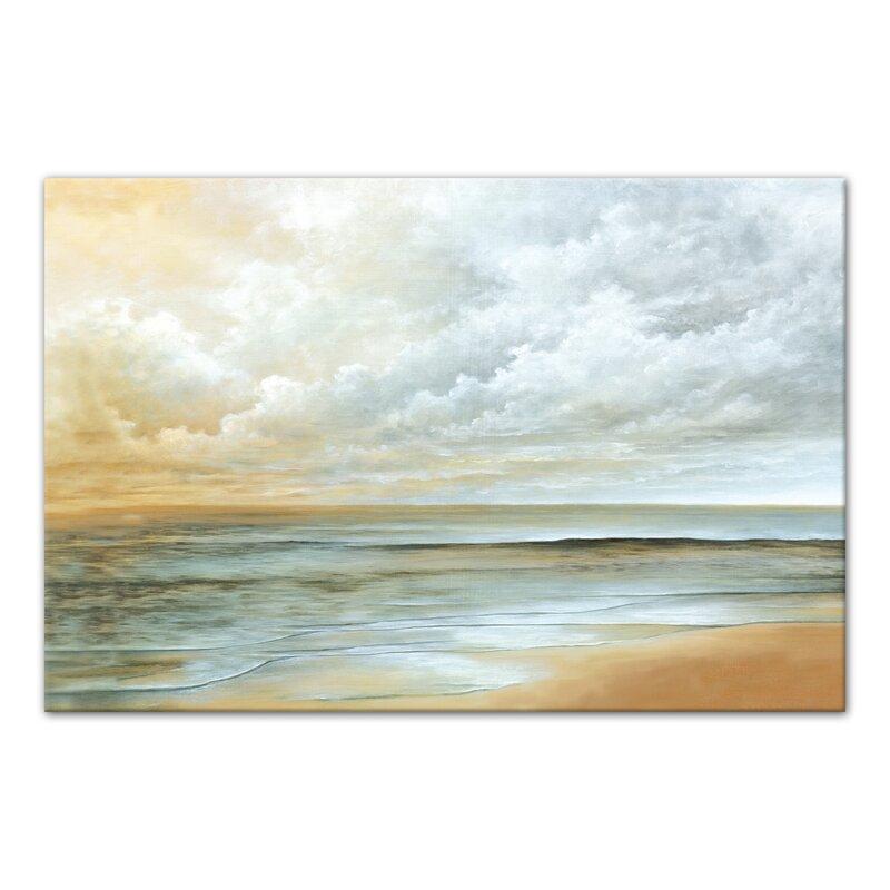 Long Beach Ocean Acrylic Painting Print On Canvas
