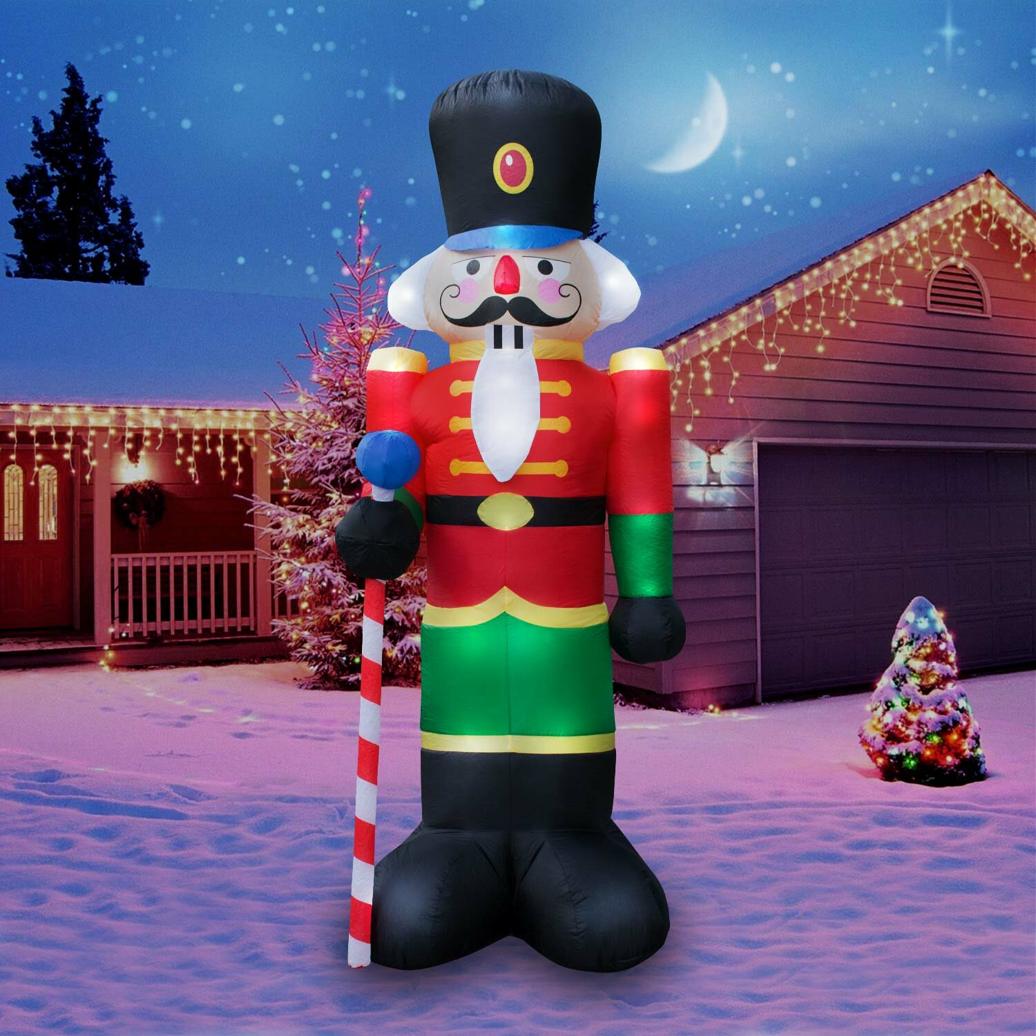 the holiday aisle christmas inflatable giant 8 nutcracker christmas inflatable reviews wayfair - Christmas Inflatables Cheap