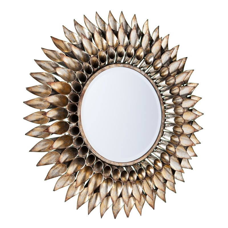 Round Galvanized And Weathered Silver Decorative Wall Mirror
