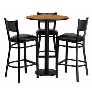 Harbuck Round Laminate 4 Piece Pub Table Set