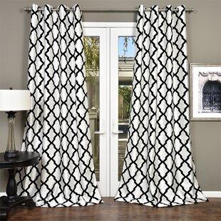 fancy plush design moorish tile curtain. Trellis Bold Geometric Semi Sheer Grommet Single Curtain Panel Edward Curtains  Wayfair